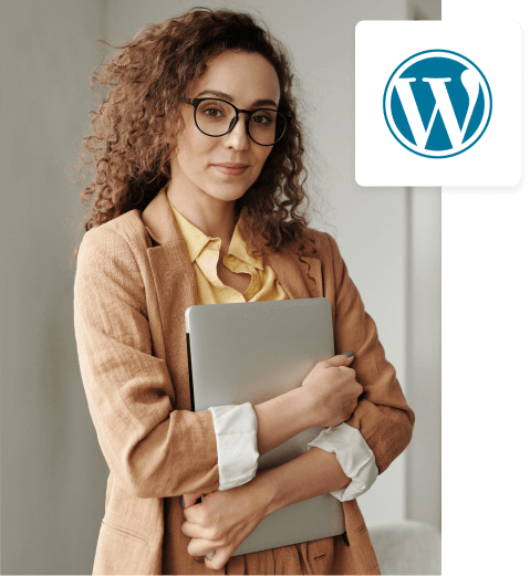 A picture of a smiling woman sitting in front of a laptop, and next to it an illustration showing a Wordpress system.